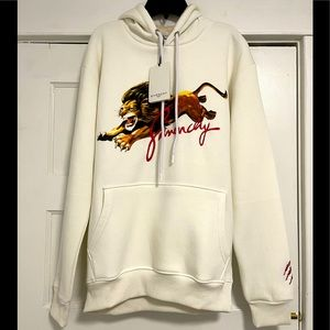 NWT Givenchy Lion Print Embroidered Hoodie In Off-white